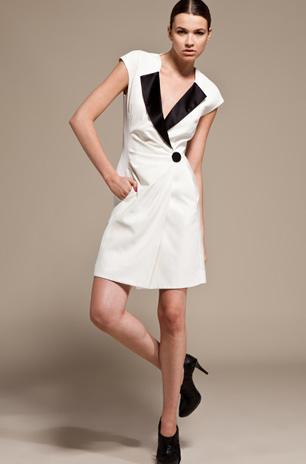 Viktor & rolf tuxedo wrap dress in off white/black satin