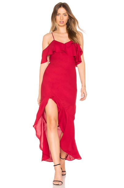 Krisa dress ruffle dress high ruffle high low red
