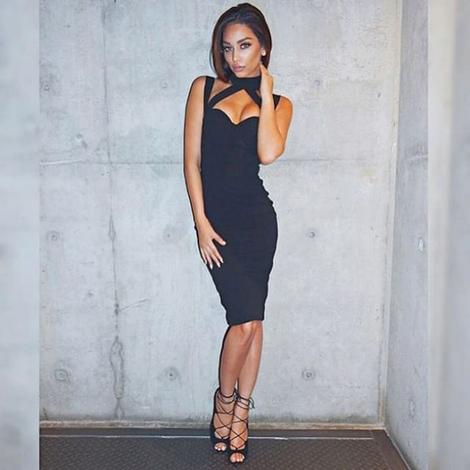Halter Sweetheart Midi Bandage Dress Black