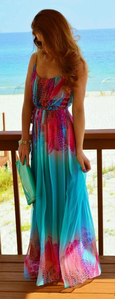 dress colorful dress rainbow dress animal print pink and blue dress