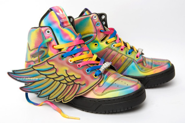 14205500abe5d6 shoes sneakers high top sneakers rainbow multicolor adidas wings adidas