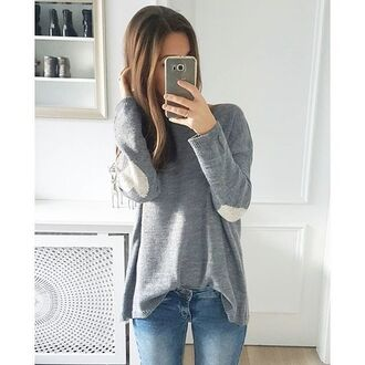sweater grey top jeans shirt cute outfit blue grey sweater cute top heart heart sweater grey top gray hoodie cute outfits fall outfits sweater weather knitwear knitted sweater knitwear sweater knit heavy knit jumper jumper phone cover leggings blue jeans light blue light blue boyfriend jeans skinny jeans