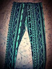 pants,leggings,tribal pattern,aztec,clothes,ethnic,print,beautiful,blue,hipster,boho,girl