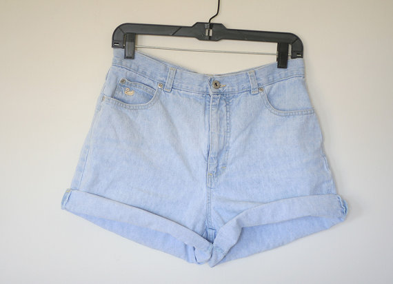 Light Blue Jean Shorts Denim High Waist Vintage 80s by heartcity
