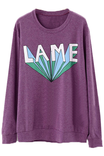 ROMWE | LAME Printed Purple Pullover, The Latest Street Fashion