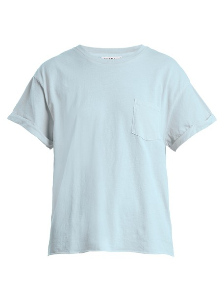 FRAME t-shirt shirt t-shirt cotton light blue light blue top