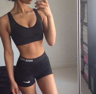 shorts black shorts nike nike pro shorts sportswear sports bra running shorts workout top yoga top