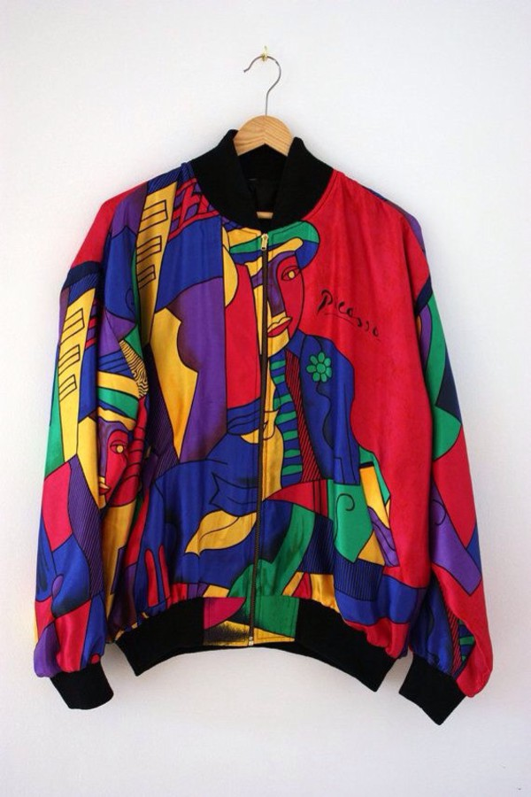 vintage 80s-90s pablo PICASSO art print colorful windbreaker ...
