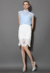 skirt,delicate,white,crochet,pencils,pencil skirt