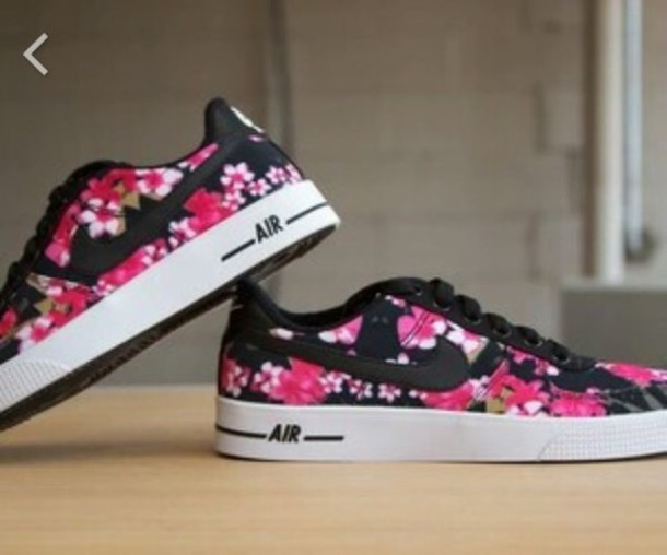 shoes nike air girl flowers