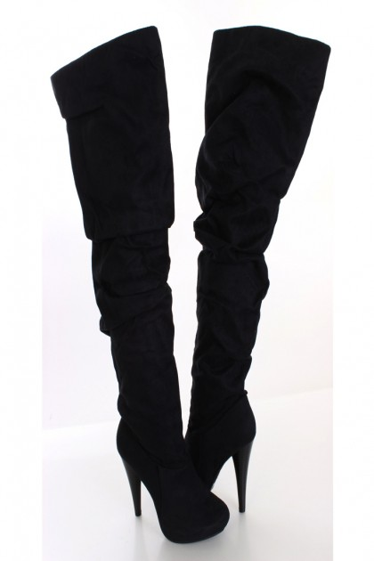 Black Faux Suede Thigh High Boots / Sexy Clubwear | Party Dresses | Sexy Shoes | Womens Shoes and Clothing | AMI CLubwear