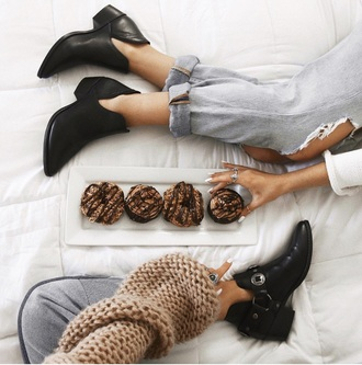shoes booties boots moto boots buckles leather black black boots free people ankle boots tess and sarah