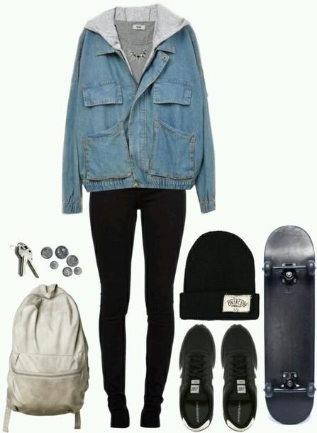 jacket blue and grey tomboy bag home accessory hat pants grunge jean jacket black jeans