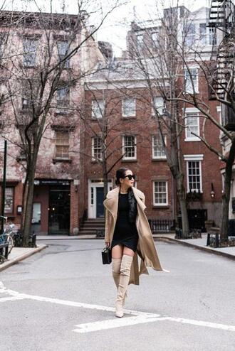 wendy's lookbook blogger coat dress jacket shoes bag sunglasses trench coat boots over the knee boots black dress