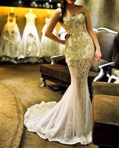 dress,prom dress,ball gown dress,gold,white dress,sheer,maxi dress,bag,gold dress beaded,beaded,wedding dress,long,strapless,train,beautiful,instagram,fashionoutlaws,FIND IT,tips,swarovski,glitter dress,beaded dress,long prom dress,white and gold dress,gold sequins,long evening dress,Gold beaded dress,silver beaded bodice,mesh dress,detailed dress,gold and white dress,white and gold prom dress,evening dress,gold white,ivory,wedding