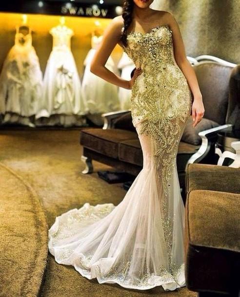 f301c0b2488 dress prom dress ball gown dress gold white dress sheer maxi dress bag gold  dress beaded