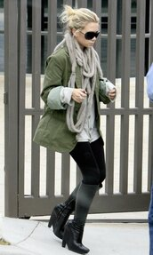 olsen sisters,blogger,leggings,army green jacket,black boots,knitted scarf,jacket,shoes,sunglasses,scarf,coat,ashley olsen,olive green