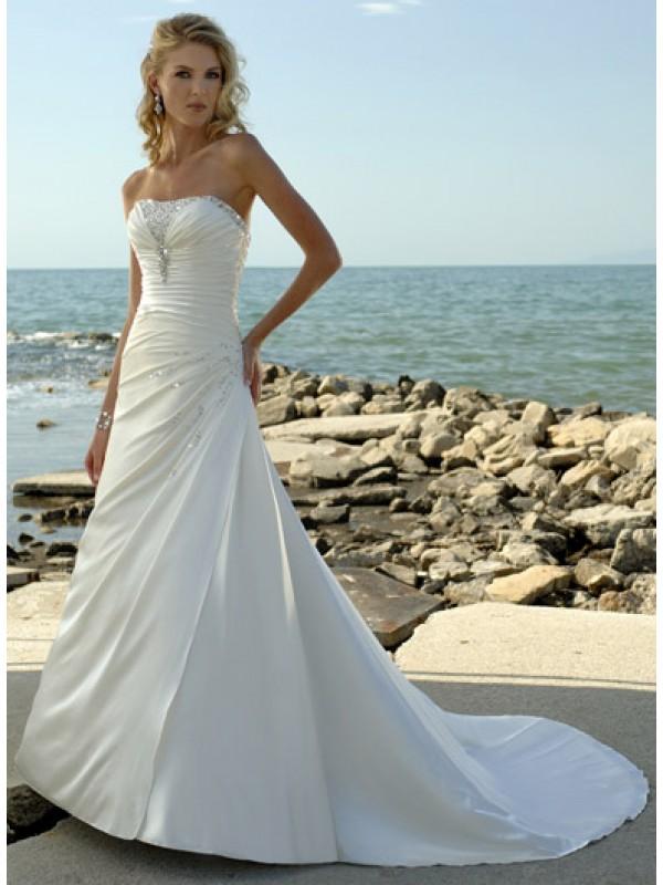 White Strapless Beading Asymmetrically Draped A-line Beach Wedding Dress-EB-473235327-US$176