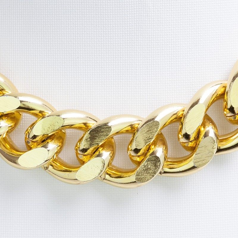Yellow gold chain chunky chain 23x19mm oxidized curb chain pkg of 1 meter