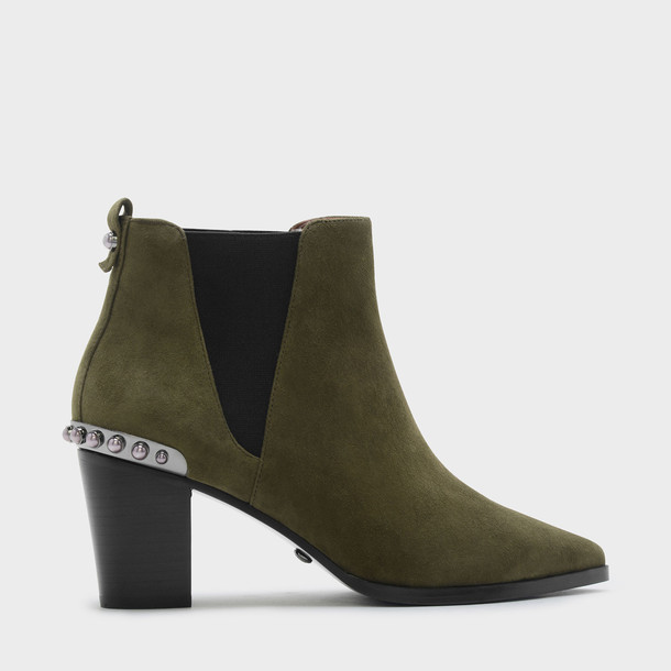 embellished heels suede khaki shoes