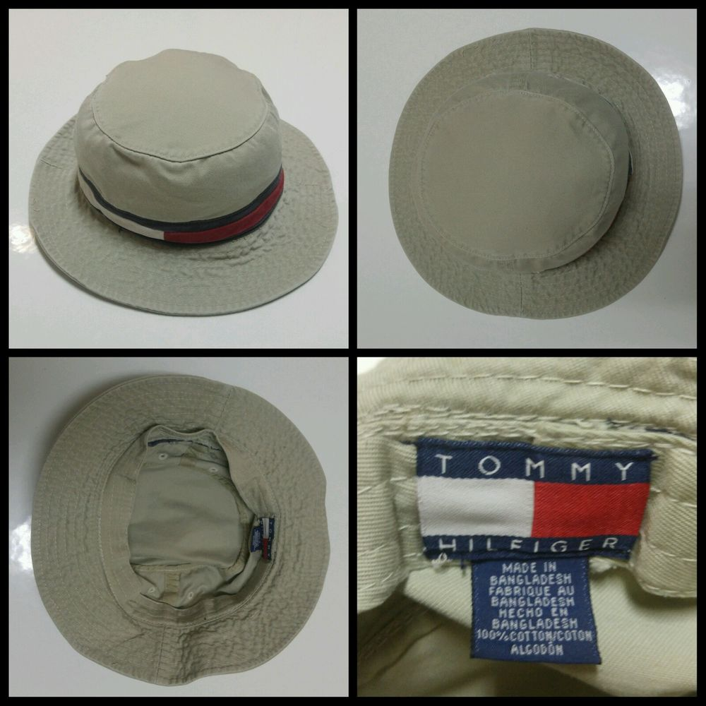 40c4910a Tommy Hilfiger Bucket Hat size Small Vintage 90s Flag Logo