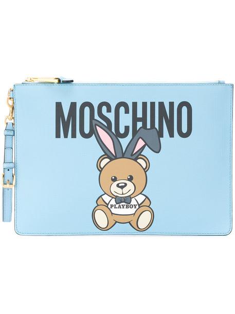 Moschino women clutch blue bag