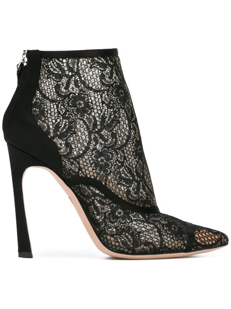 GIAMBATTISTA VALLI women ankle boots lace leather cotton black satin shoes