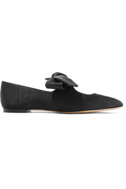 The Row bow ballet embellished flats ballet flats black satin shoes
