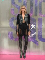 dress,see through,see through dress,jacket,boots,over the knee boots,cara delevingne