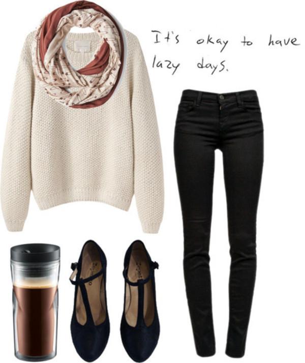 sweater sweater skinny jeans heels vans scark shoes scarf