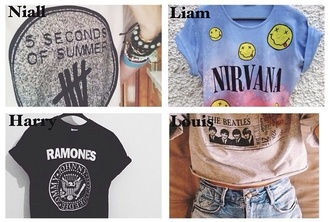 shirt band t-shirt 5 seconds of summer nirvana ramones the beatles
