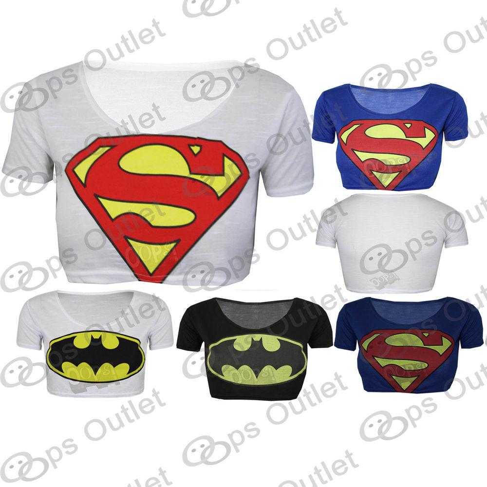 Womens Ladies Superman Batman Cropped Comic Hero Short Sleeves T Shirt Tank Top | eBay