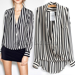 Women Loose Black White Straight Stripe Deep V Long Sleeve Wrap