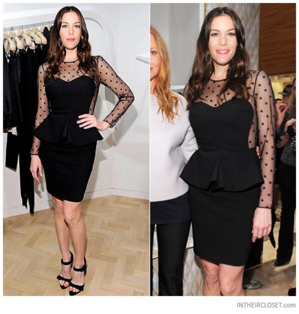 Black Little Black Dress - Black Long Sleeve Peplum Dress | UsTrendy