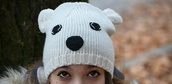 hat,bin,white,black,cute,ears,animal,eyes,nose,nitted,knitwear,knitted cardigan