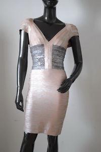 Celebrity style metallic grained bandage dress