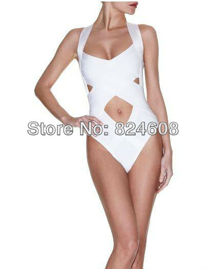 Free Shipping High Quality HL Bandage swimwear sexy One piece swimsuit with sexy cut out work monokini bikinis white-in One Pieces from Apparel & Accessories on Aliexpress.com