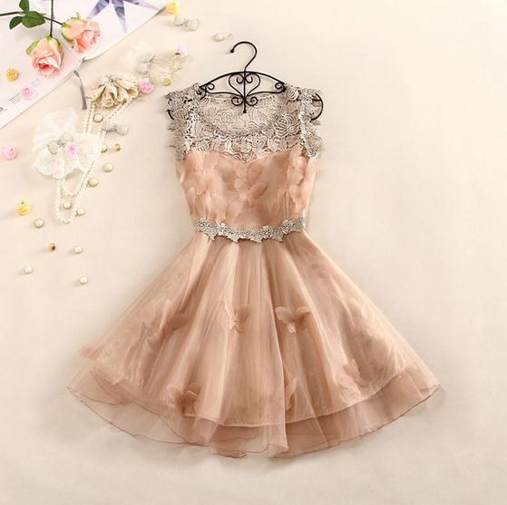 3d butterfly hollow out lace dress / fanewant