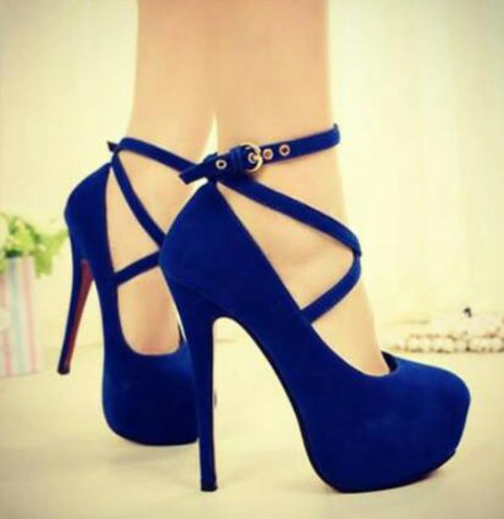 high heels blue heels