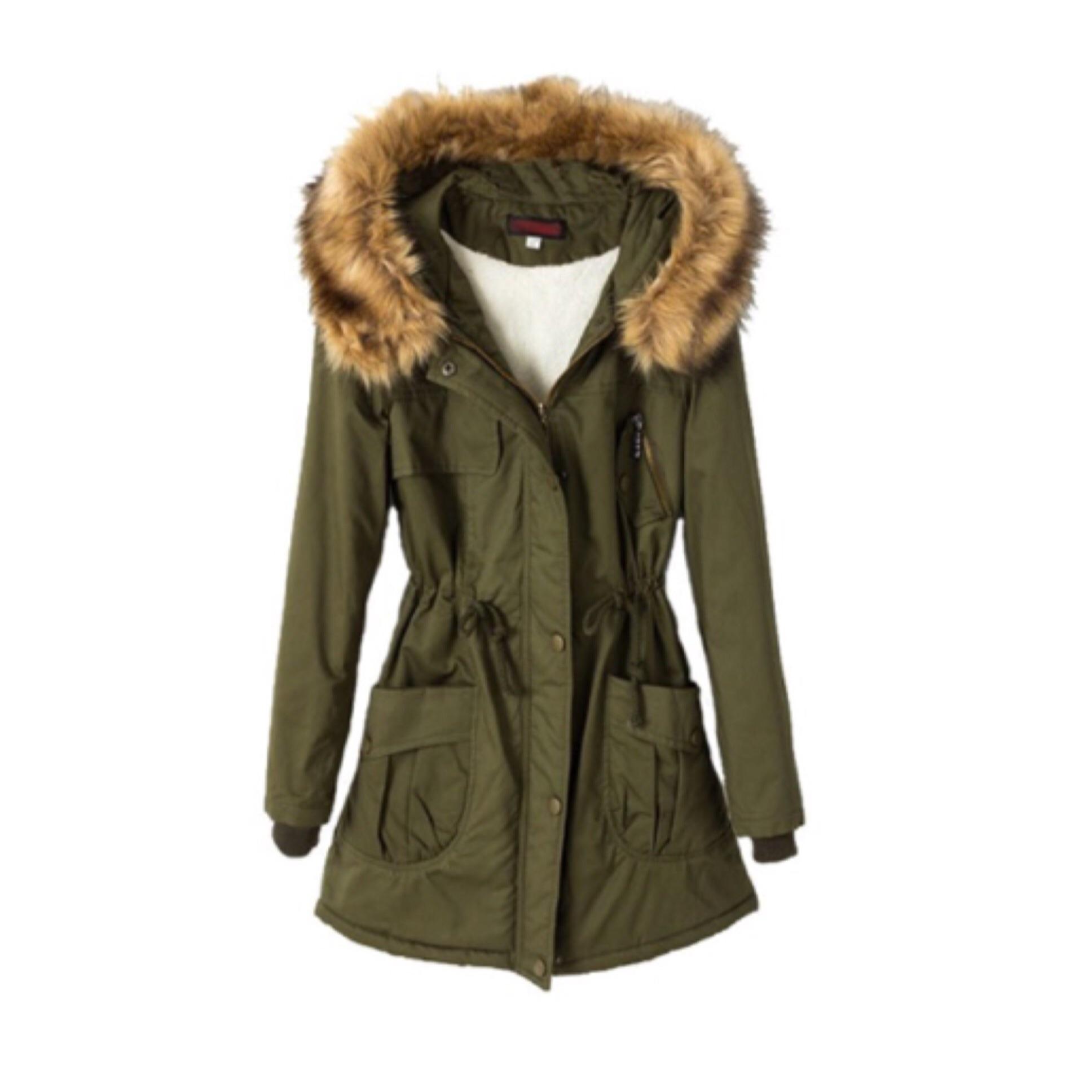 Army green fur hooded parka jacket