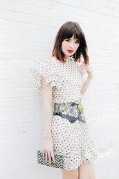 dress,clutch,chevron,polka dots,waist belt,belted dress,ruffle,ruffle dress,blogger,sea of shoes