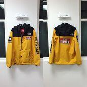 jacket,supreme,supreme clothing,supreme jacket,yellow,yellow jacket,the north face jacket,flag