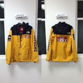 jacket supreme supreme clothing supreme jacket yellow yellow jacket the north face jacket flag