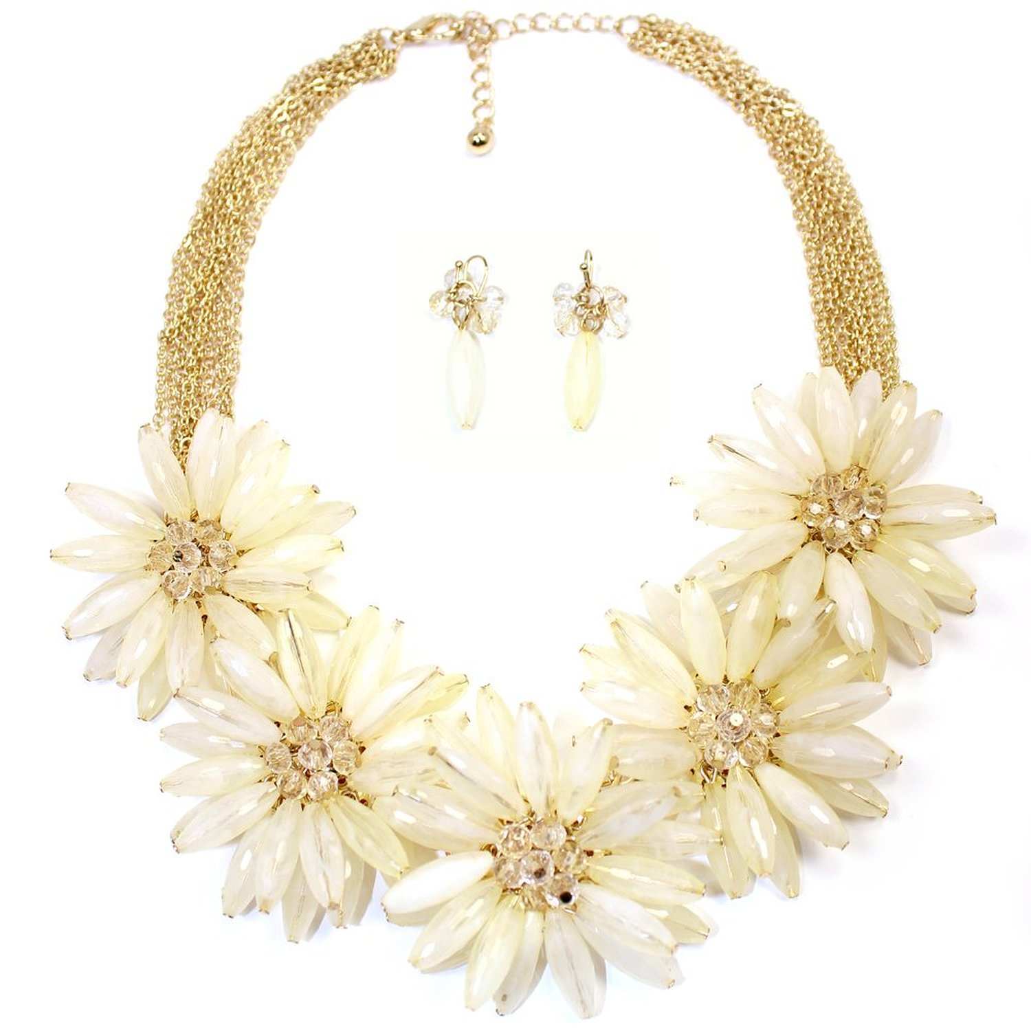 Amazon.com: Hugssy Multi Strands Pendant Flowers Statement Necklace Earrings Set, White (IV): J Crew Necklace: Jewelry