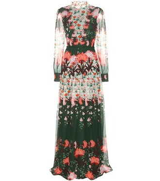 gown floral silk dress