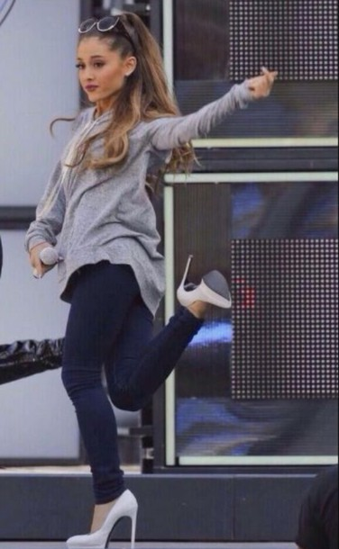 Jeans: grey, sweater, cute, outfit, ariana grande, grey sweater ...