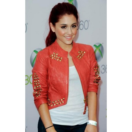 Ariana Grande Red Jacket at World Premiere of Project Natal