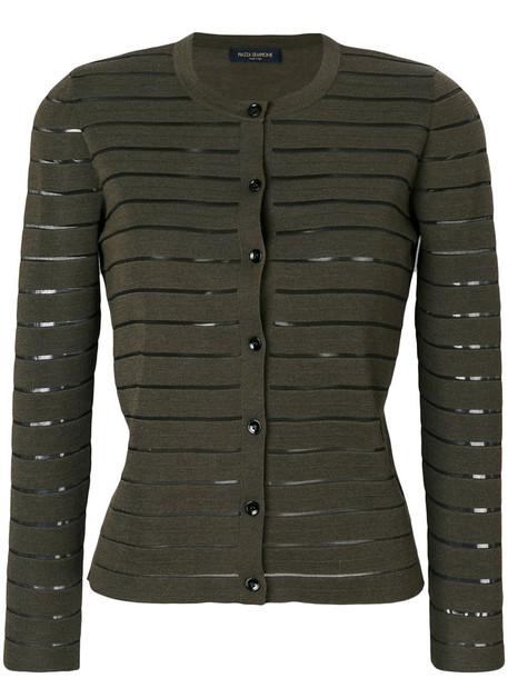 Piazza Sempione - striped cardigan - women - Silk/Virgin Wool - 42, Green, Silk/Virgin Wool