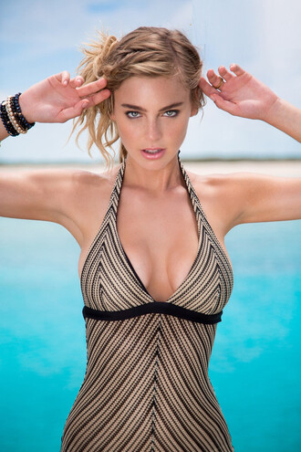 swimwear black gold luli fama one piece swimsuit print stripes bikiniluxe
