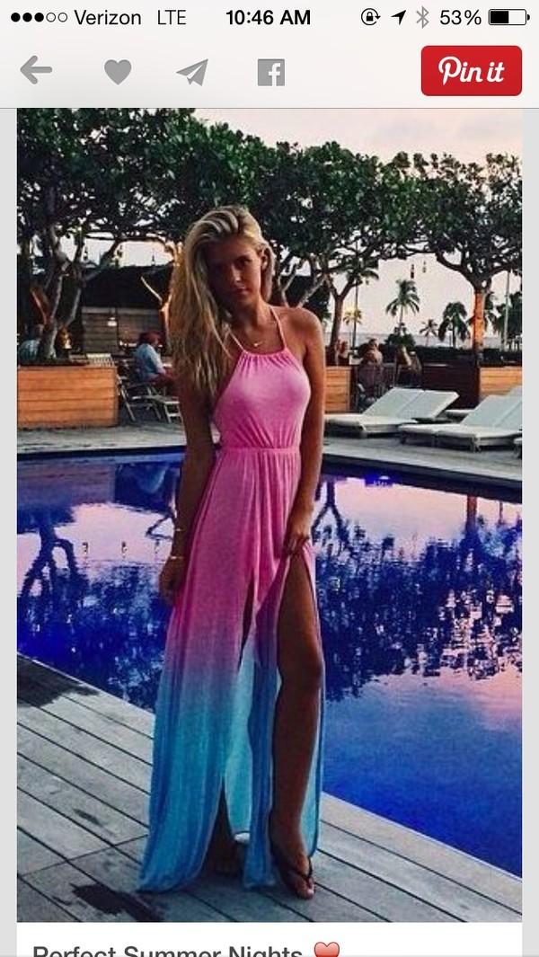 a8af248ce7df9 dress pink dress blue dress maxi dress long dress ombre dress summer dress  cute dress light